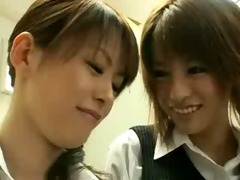 japanese chicks in uniform giving a kiss 10