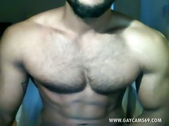 sexy turkish muscled jerking live!