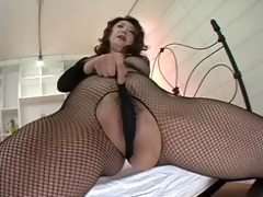 japanese milf in darksome fishnets masturbation