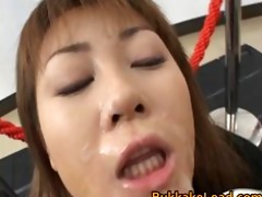 eager oriental model in sexy bukkake act part9