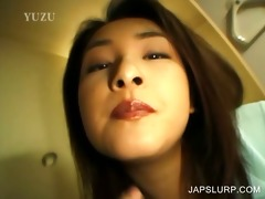 legal age teenager japanese giving bj in close-up