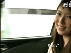 breasty oriental girlfriend gives car fellatio