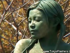 stripped oriental angel statue comes alive