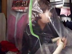 cutie in mask seals herself in vaccuum bag