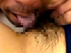 oriental girl in swimsuit licked giving blowjob