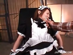 oriental serf in maiden dress acquires wet crack