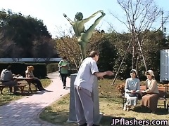 eager japanese bronze statue moves