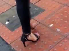 indian cutie walking throughout city with hawt