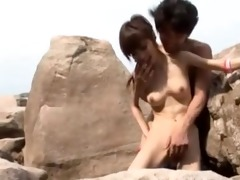 skinny japanese angel screwed at the beach