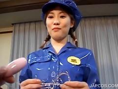 oriental in police uniform vibing her wet crack