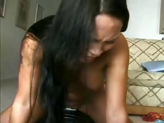 oriental hottie with monster vibrating machine