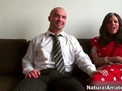 cute brunette woman acquires concupiscent talking