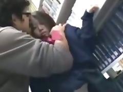 cute schoolgirl drilled by geek in lib...