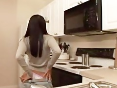 oriental sweetheart undresses in the kitchen