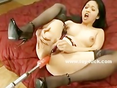 oriental pussy filled with various sized fucking