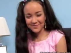 cute oriental daughter screwed by darksome boy