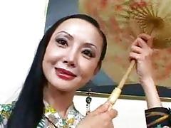 lengthy haired oriental floozy with posh milk