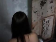 breasty stripped oriental playgirl walks around