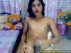 slutty t-girl cums and eats her jizz