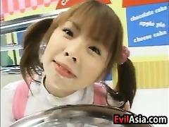 bawdy oriental cutie enjoying cum