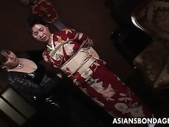 japanese mother i in kimono acquires bound up