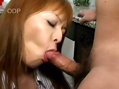 uncensored oriental kitchen blowjob, cum in mouth