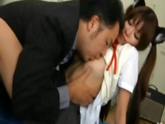 oriental legal age teenager sits on her teacher