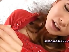 oriental babe enjoys knobs