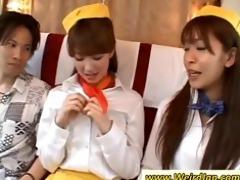 naughty oriental stewardesses gives tugjob