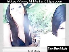 two hawt oriental lady-boys engulf rod on webcam!
