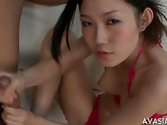 oriental wench pecker engulf and cum drink