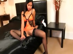 slim oriental in luxury stocking