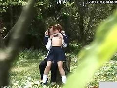 school student couples sex outdoor exposure