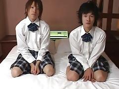 oriental twinks in school girls uniform talking